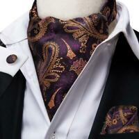 Purple Gold Paisley Mens Silk Ascot Cravat Tie Set Wedding Business Jacquard