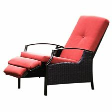Indoor/Outdoor Wicker Adjustable Recliner Chair, Lounge Chair With Thick Cushion