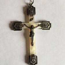 belle ancienne croix en nacre et argent  pendentif  fin 19ème