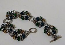 Chain mail  Bracelet green and silvertone