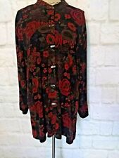 Coldwater Creek Women Button Down Blouse Tunic Size L Black Red Floral Slinky
