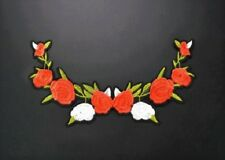 Large Embroidered Red and White Flower Iron On Patch / Applique Iron On Patch