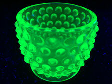 Green Vaseline glass Hobnail Sugar mustard bowl candy uranium dish toothpick art