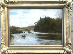 Alexander Kellock Brown R.S.A. R.S.W. - Oil on Canvas, Fishing on River Tay