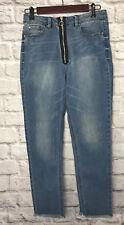 Rachel Roy Denim Jeans Slim High Rise Skinny Raw Hem Zipper Front Size 28
