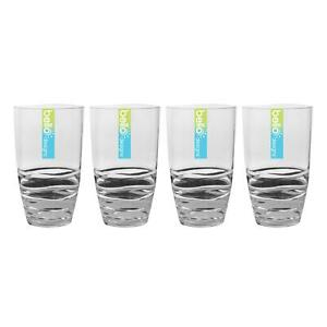 4 Tall Tumbler Glasses Reusable Plastic Clear Swirl Summer Party BBQ Picnic