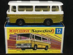 MIMB Matchbox Superfast MB12 B2 Setra Coach (Gold) with Type G Box