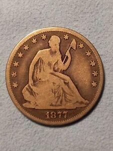 1877 CC Seated Liberty Silver Half Dollar