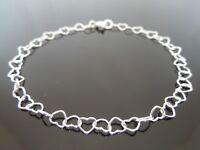 FINE 4mm x 5mm 925 Sterling Silver Heart Link Chain Bracelet ~ Choose Length