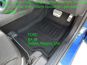 To suit Ford BA BF Falcon Moulded Front 3D Car Floor Mats Rubber Vinyl 2002-2009