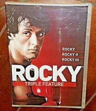 Rocky Triple Feature (DVD, 2010) Rocky I/II/II w/Sylvester Stallone!