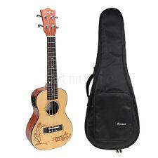 23 Inch Laminated Spruce Electric Acoustic Concert Ukulele Hawaii Guitar W/Bag