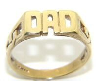 Mens Gents 9ct 9carat Yellow Gold DAD Ring UK Size N 1/2 HALLMARKED