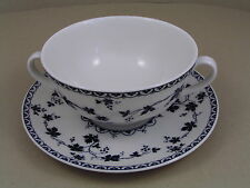 ROYAL DOULTON YORKTOWN RIBBED TWO HANDLED SOUP COUP AND SAUCER.