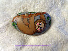 Hand Painted Rock Stone Art - Cute Hanging SLOTH Tree Branch BROWN Rainforest