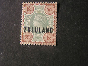 """ZULULAND, SCOTT # 6, 4p. VALUE STAMPS OF GB OVPT """"ZULULAND"""" 1888-93 ISSUE MLH"""