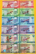 SPECIMEN: Gambia complete Set 2015 UNC Banknotes
