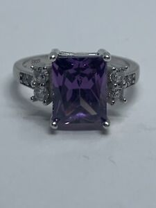 Vintage Solid 925 Sterling Silver Purple Tourmaline & Cubic Zirconia Ring