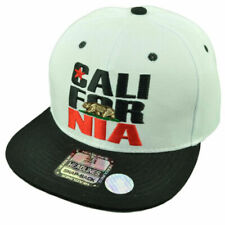 California Cali Bear White Black Hat Cap Snapback Flat Bill Golden State USA Ca