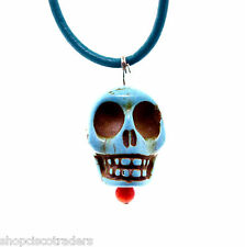 Howlite Day Dead Skull Necklace A43-5 Leather Boho Tribal Gypsy FREE GIFT BOX