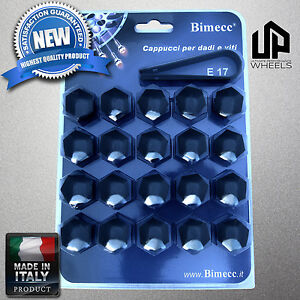 (20) NEW 17MM HEX BLACK CAP COVERS FASTENERS LUG BOLTS NUTS CHEVY WHEELS ITALY