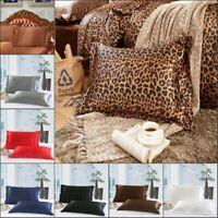 New Solid Queen/Standard Silk Satin Pillow Case Bedding Pillowcase Smooth Home