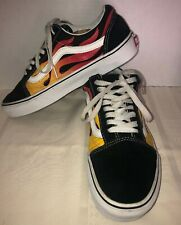 VANS Flames Fire suede canvas skating sneakers shoes size 7.0 man