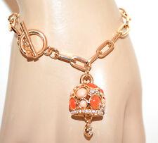 PULSERA mujer oro dorado piedra colgante rosa naranja brazalete bracelet G48