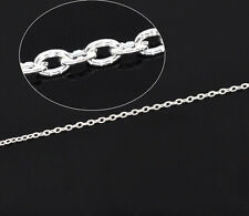 10M Silver Plated Textured Cable Link Chain Findings 3x2mm
