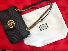AUTHENTIC GUCCI MARMONT GG QUILTED SHOULDER BAG BLACK LEATHER MEDIUM
