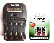 UNiROSS LCD 1-2 HOUR AA/AAA CHARGER & 4 x AAA 800 Series Hybrio Rechargeables