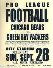 Green Bay Packers vs Chicago Bears Vintage Game poster 1930 NFL History   13X19