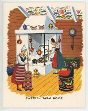 VINTAGE SWEDISH FARM HOUSE HEARTH POTATO DUMPLINGS RECIPE PRINT DUCK DECOY CARD