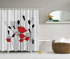 Elegant Floral Poppy Digital Print Shower Curtain Gray Red Flowers Bath Decor