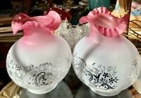 """VINTAGE Pair (2) Etched Glass CW Vianne Ruffle Top Ball Lamp Shade France 9"""""""