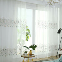 White Floral Branch Embroidered White Lace Sheer Curtain Living Bed Room,Cafe