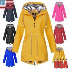 Womens Long Sleeve Hooded Jacket Ladies Water resistant Forest Rain Coat Outdoor