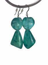 Leo Narducci Chunky Resin Statement Earrings Aqua Turquoise Blue