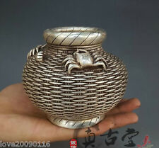 Collectible Old Handwork Silver Plate Copper Carve Crab Fish Basket Jar pot