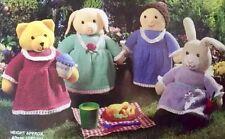 Ct11 Knitting Pattern - Set of 4 PATTERNS -  Toys; Teddy Bear, Pig, Rabbit, Girl