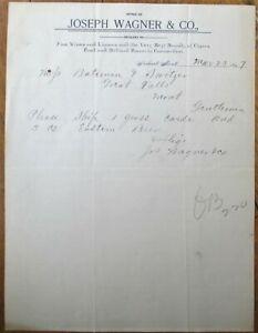 Neihart, MT 1897 Letterhead: Wine, Cigars, Liquor & Billiard Room - Montana Mont