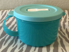 Tupperware CrystalWave Plus Microwave Reheatable Soup Mug 2 Cups Turquoise New