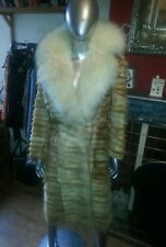 TRUE VINTAGE GLAMOROUS REAL FOX FUR FULL LENGTH COAT WITH HUGE COLLAR STUNNING