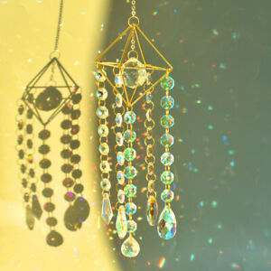 Crystal Suncatcher Prism Rainbow Maker Wind Chime Pendant Hanging Window Decor