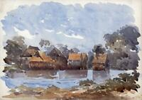 RIVER & HUTS CEYLON - SRI LANKA Antique Watercolour Painting c1920