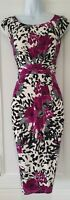 Womens Precis Petite Black White Animal Floral Gathered Formal Bodycon Dress 10.