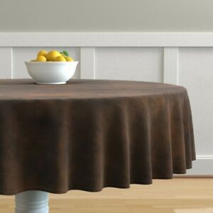 Round Tablecloth Aged Luxurious Look Deep Brown Cowhide Cotton Sateen