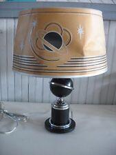 Vintage Art Deco Saturn Ring Planet Table Desk Lamp w original shade