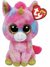 "Ty 6"" Fantasia the Unicorn Beanie Boos Plush Stuffed Animal w/ Heart Tags MWMT's"