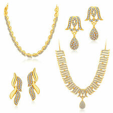 Sukkhi Ethnic Gold Plated Set Of 2 AD Necklace Set Combo For Women (289CB1500)
